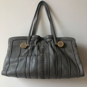 BVLGARI Monete Grey Leather Tote